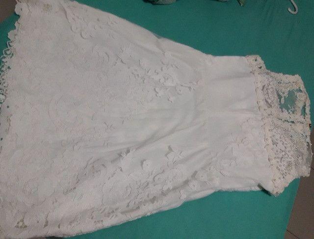 Vestido branco de tule e renda para missa de formatura - Foto 3