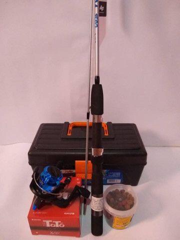 Kit pesca , vara molinete , caixa de pesca - Foto 3