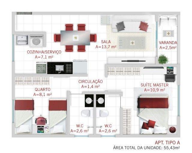 GÊ Apartamento, bairro Jangurussu, 2 dormitórios, 2 banheiros, 1 vaga. - Foto 11