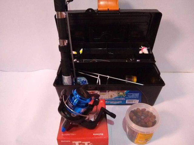 Kit pesca , vara molinete , caixa de pesca - Foto 2