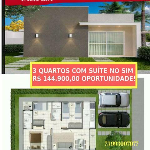 Residencial casas de Turim Melhor Custo Benrficio do SIM 3/4 com suite