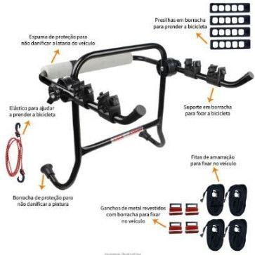 Suporte Transbike Porta-Malas com Presilhas (Carros tipo Sedan e Hatch) - 2 Bikes - Foto 5