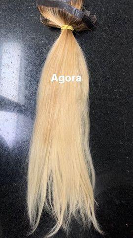 Vendo Mega Hair de Fita Adesiva Loiro - Foto 3
