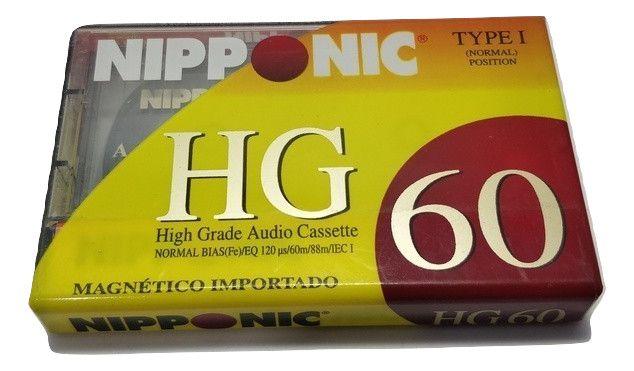 Fita Cassete Virgem Nipponic Lacrado HG 60 Magnético Preço de unidade