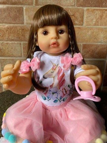 Bebê Reborn toda em Silicone Cabelão realista Nova Original fotos reais(aceito cartão ) - Foto 4