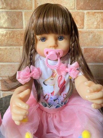 Linda Boneca bebê Reborn toda em Silicone realista Nova Original (aceito cartão ) - Foto 4