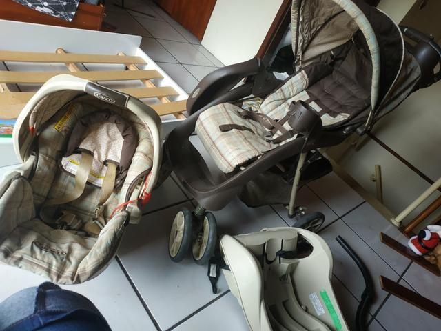 Vendo ou Troco Carrinho Graco + Bebê Conforto + Base do carro - Foto 3