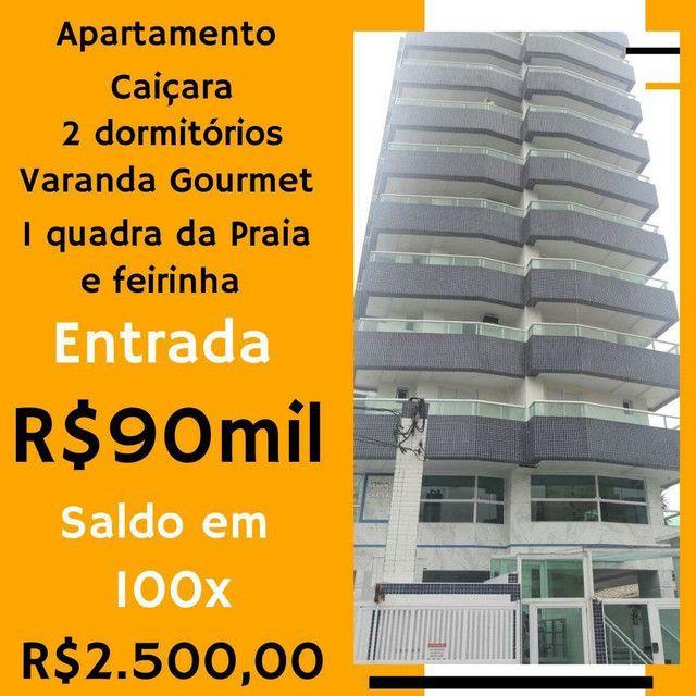 Belíssimo apartamento, 02 dormitórios, 01 suíte, varanda gourmet, 200 metros da praia