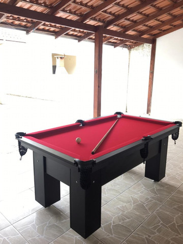 Mesa de Bilhar Charme Preta Tx Tecido Vermelho Modelo LLK6415 - Foto 2