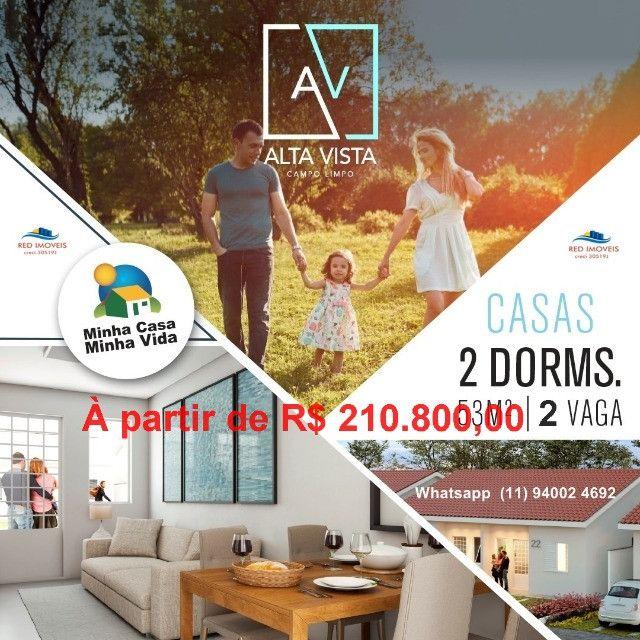 Alta Vista Campo Limpo Pta, casas em condominio , entrada parcelada , pode usar FGTS - Foto 2