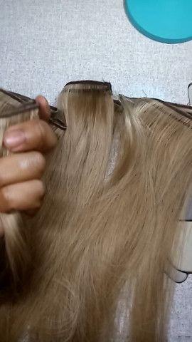 Mega Hair Cabelo Humano Loiro Claro - Foto 5