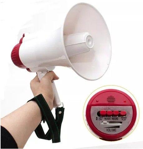 Megafone portátil com microfone e sirene musical - Foto 4