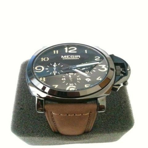 37c6a2a71a0 Relógio masculino Esportivo Luxo Original Pulseira Couro Último Disponível