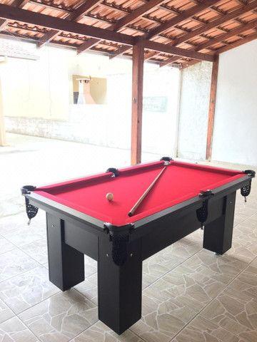 Mesa de Bilhar Charme Preta Tx Tecido Vermelho Modelo LLK6415 - Foto 3