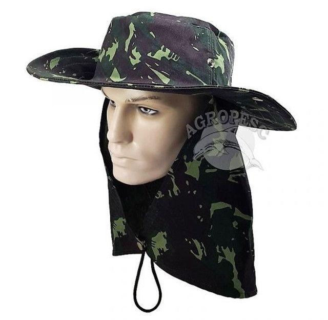 Chapeu Pescador Camuflado Estilo Militar Com Aba Protetora Contra O Sol, Chuva E Mosquitos
