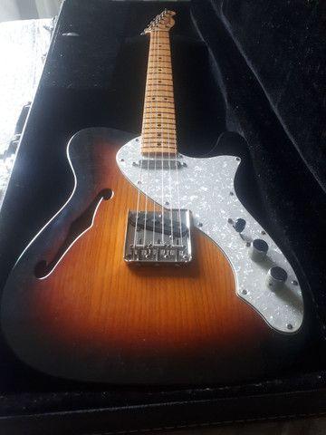 Guitarra Fender telecaster thinline 69 sunburst troca stratocaster - Foto 3