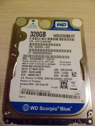 HD sata p/ notebook 320gb WD