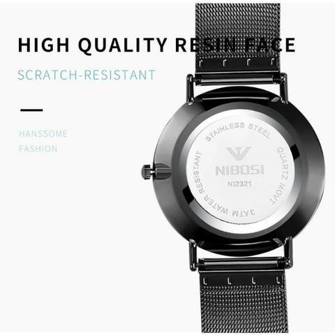 25c33edf25c Relógio Nibosi Unissex Fem   Masculino 2321-1 Prata C  Azul ...