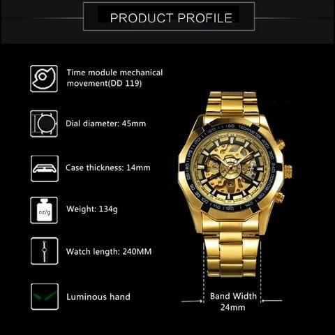 51e5795808f Relógio Winner Importado Forsining Automático Luxo - Bijouterias ...
