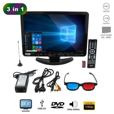 Tv Monitor 15,4 Pol KP-116 Knup Lcd Hd 1080p Dvd Player Hdmi Vga Usb