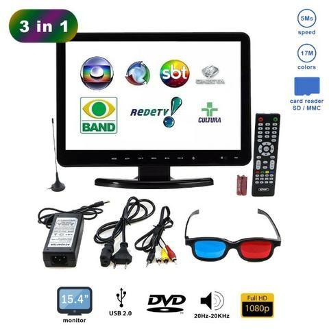 Tv Monitor Digital 3d 15,4 Pol KP-D116/Isdb Knup Lcd Conversor e Dvd Player 1080p