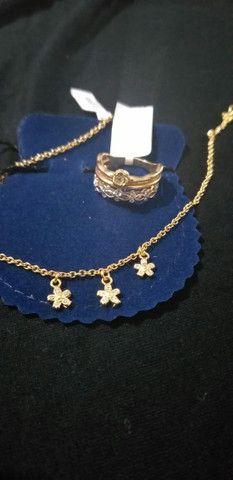 Kit anel e pulseira banhados a ouro 18k novos