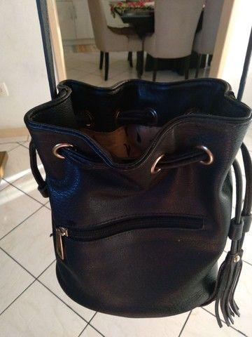 2 bolsas=Bolsa saco+Mochila bolsa WJ original, preto fosco com detalhes em dourado.   - Foto 6