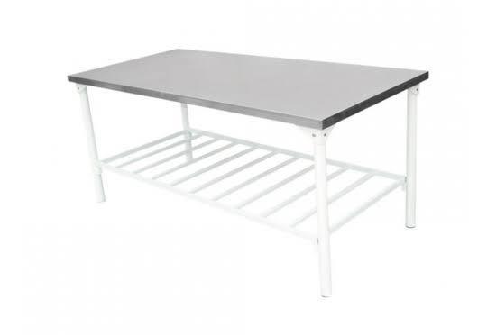 PROMOÇÃO mesa de ferro tampo inox 190x70 com grade JM