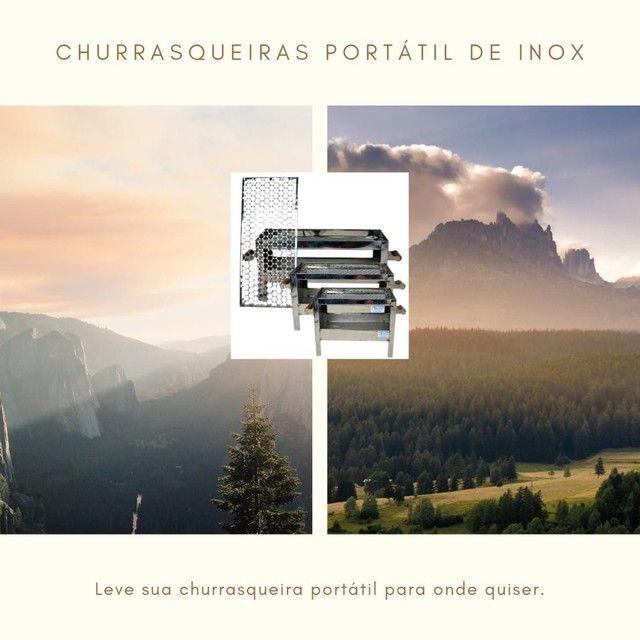 Churrasqueiras Portáteis de Inox Pequenas - Foto 2