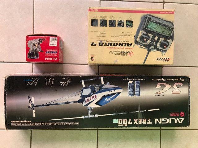 Pecas para helicoptero T-rexx 700 mais radio controle hitec
