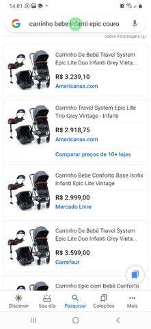 Carrinho bebe 3x1 luxo infanti epic lite couro travel system base isofix - Foto 6