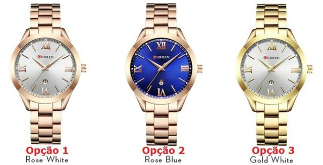 3de9ce2b225 Relógio Importado Feminino Curren 9007 Original - Bijouterias ...