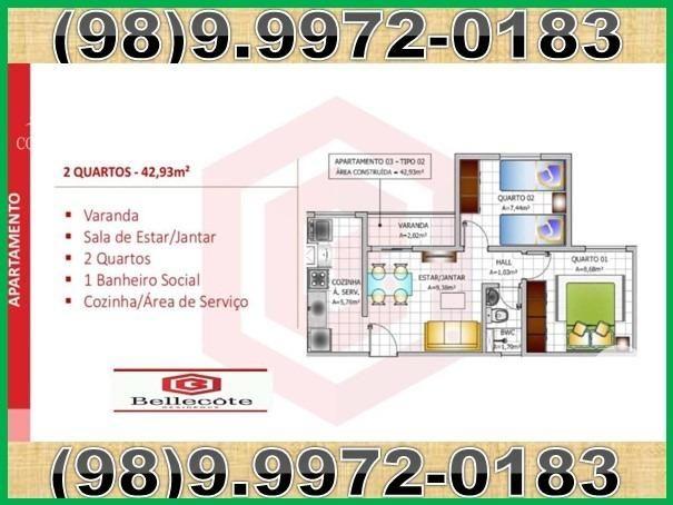 Bellecôte, apartamentos com 2 quartos, 42 a 48 m² Maiobão - São José de Ribamar/MA - Foto 4