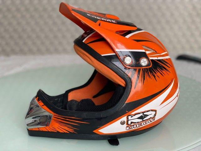 Capacete Bicicross Kaerre preto/laranja tamanho 58 - Foto 2