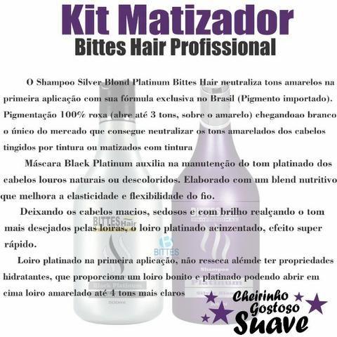 Kit Silver Matizador Desamarelador Cabelo Loiro Platinado Shampoo 500 ml Máscara 500 ml - Foto 2