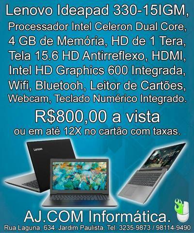 Notebook Lenovo Ideapad 320! Leve, tela grande, rápido! Apenas 800,00!