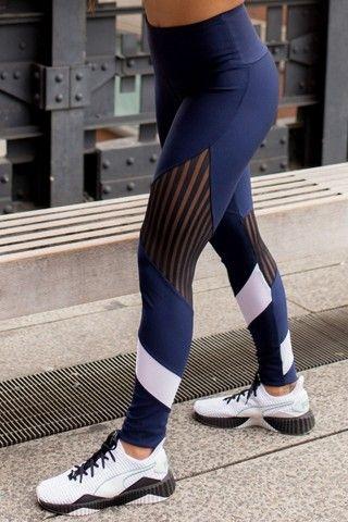 Legging Feminina em Tecido Platinado e Tule Canelado Tamanho M - Foto 5