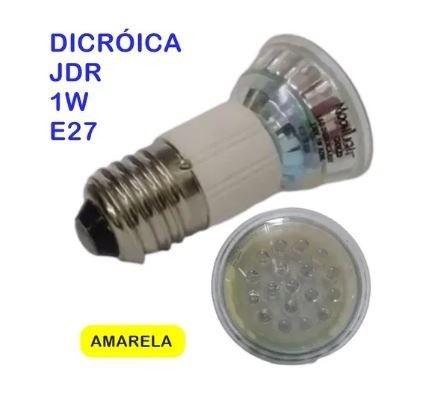 Lâmpada Dicróica Led Jdr 1w 220v E27 Amarelo Kit com 10