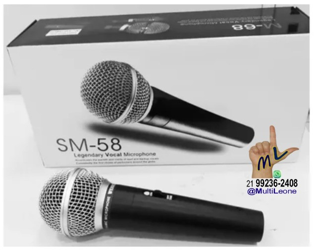 Microfone SemiProfissional Sm-58 Dinâmico Cardióide + Cabo De 3 Metros
