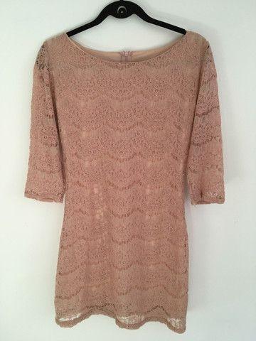 Vestido renda rosê