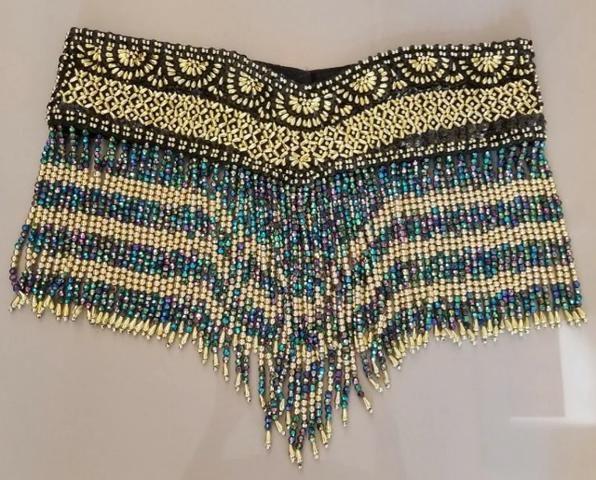 Cinturão Cinto P/ Saia Dança Do Ventre - Preto Dourado Azul