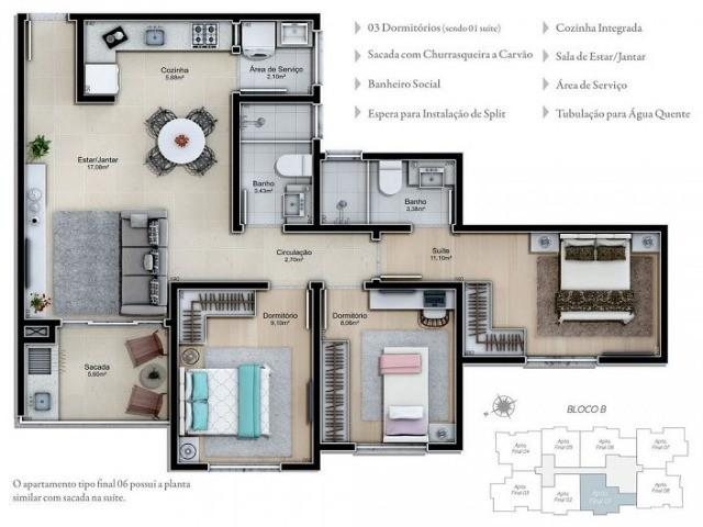 Apartamento, agronômica, 3 dormitórios, sendo 1 suíte, 2 salas, sacada, churrasqueira, coz - Foto 6