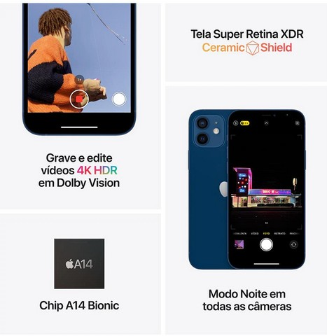 iPhone 12 Apple 128GB Preto, Novo, Lacrado, NF - Foto 6