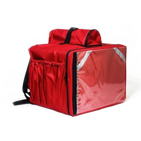 Mochila Termica para Entregas Moto 45 Litros Isopor Vermelha Bolsa Entregador - Foto 3