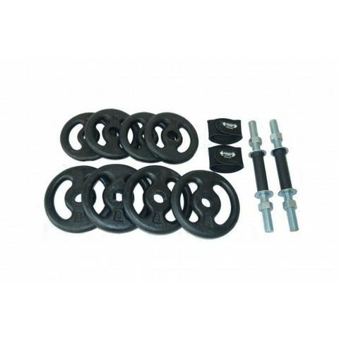 Kit Halter Musculação Peso Completo Anilhas Barras Com Rosca ... b51439cb743c5