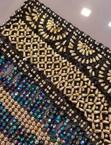 Cinturão Cinto P/ Saia Dança Do Ventre - Preto Dourado Azul - Foto 3