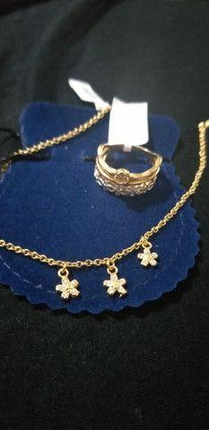 Kit anel e pulseira banhados a ouro 18k novos - Foto 2