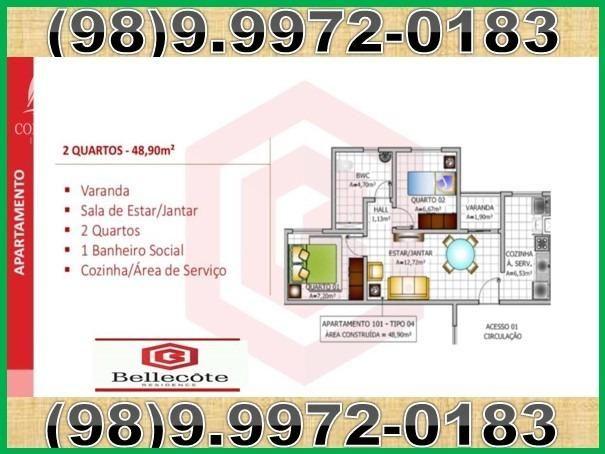 Bellecôte, apartamentos com 2 quartos, 42 a 48 m² Maiobão - São José de Ribamar/MA - Foto 5