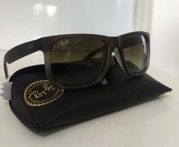 10083fb7e9f82 Óculos de sol Usado Original Ray Ban Justin Clássico Unisex Marrom Degradê  óculos escuro