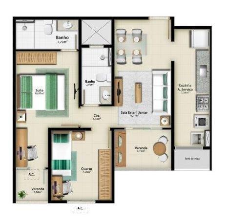 Apartamento para venda em vitória, jardim camburi, 2 dormitórios, 1 suíte, 1 banheiro, 1 v - Foto 12